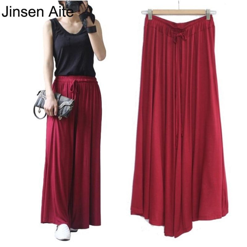 Jinsen أيت المرأة الصيف مشروط عارضة السراويل واسعة الساق السراويل فضفاضة الحريم السراويل مرونة الخصر outdoors زائد حجم الإناث JS458
