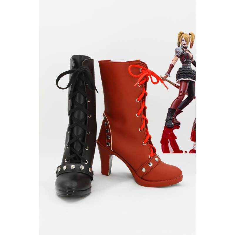 batman harley quinn arkham city joker movie halloween cosplay pu shoes boots high heels custom. Black Bedroom Furniture Sets. Home Design Ideas