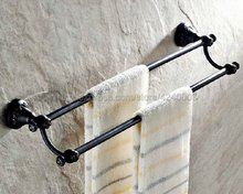 Black Oil Rubbed Brass Wall Mounted Double Towel Bar Towel Rack Towel Holder Bathroom Accessories Kba447 oil rubbed bronze bathrrom dual towel bar towel hanger soild brass wall mount