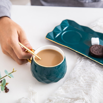 Ceramic Coffee Cup with Spoon and Plate Set