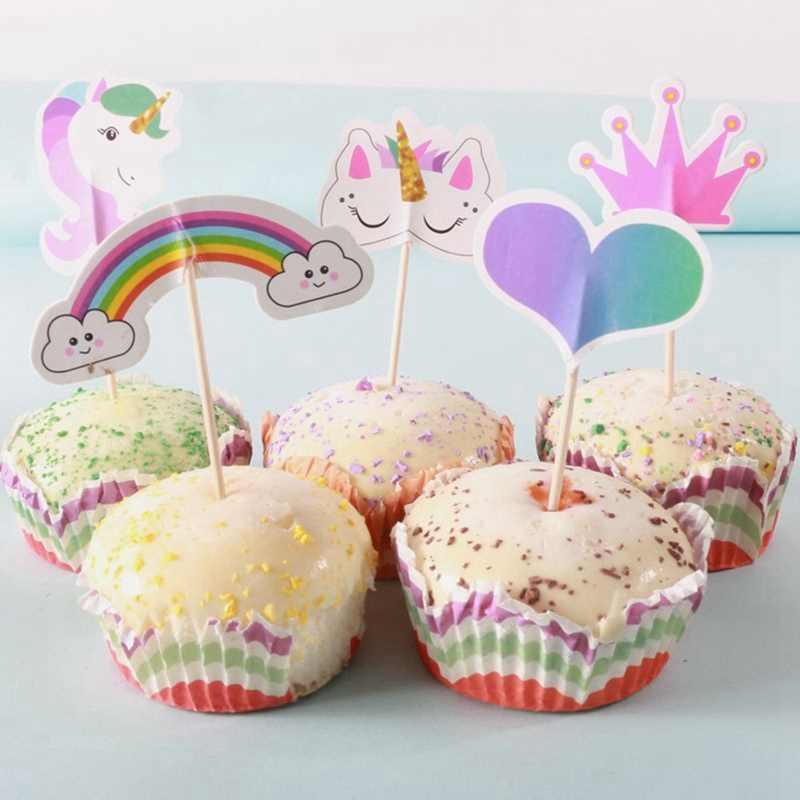 Единорог Радуга вечерние торт украшения для кексов флажки для торта детский душ на день рождения Свадебная вечеринка товары для украшения торта 24 шт./лот