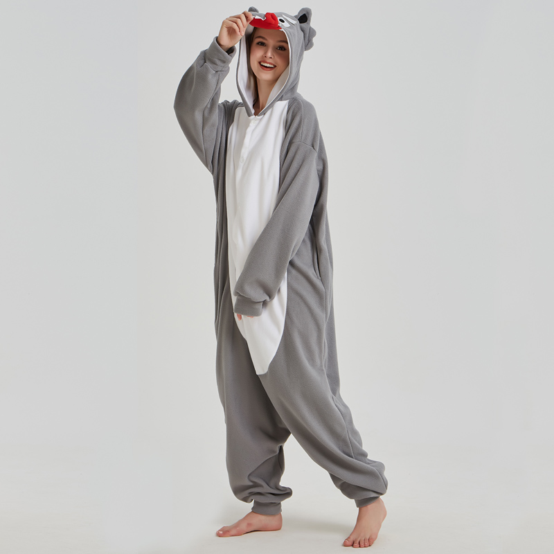 Fancy Grey Wolf Kigurumi Pajama Animal Adult Onesies For Women Pyjamas One-Piece Sleepwear Pyjamas Halloween Christmas Party (6)
