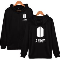 Two Step BTS Army Hoodies With Zipper Fashion Pop Music Knop Casual Men Clothing Hooded Sweatshirts