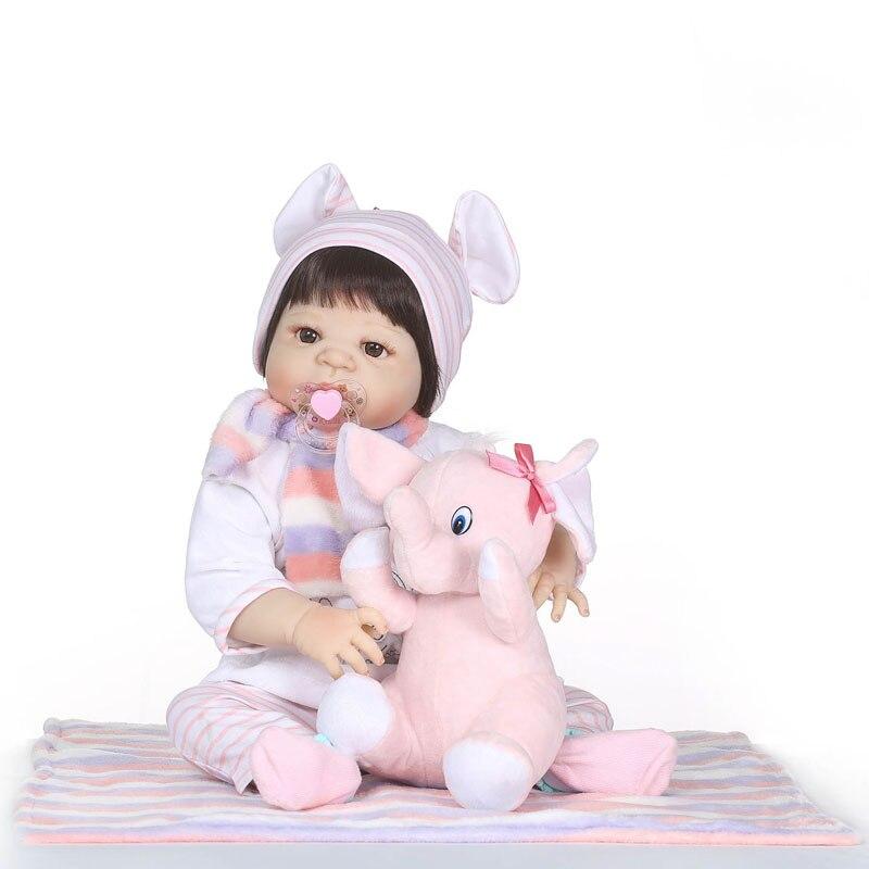 Original 55 cm Volle Silikon Reborn Baby Puppe Baden Spielen Haus Spielzeug Vinyl Neugeborenen Mädchen Babys Kinder Kinder Lebendig Bebe bonecas