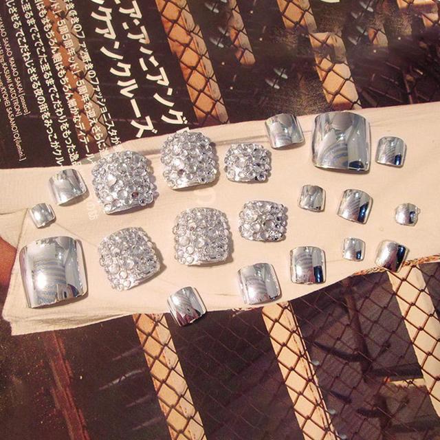 24 Pcs Summer Beauty Chic Toe Nails Metallic Silver For Foot Nail  1