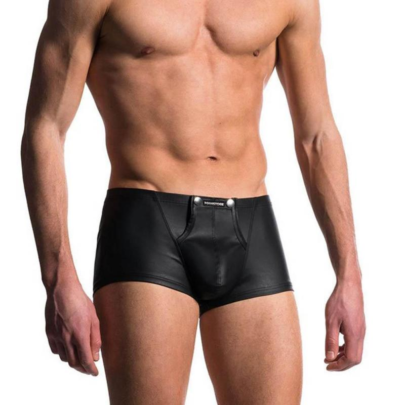 Hot Open Pouch Hole Bag Panties Men Faux Leather Boxer Shorts Underwear New Fashion Gay Underpants Flat Panty Y2