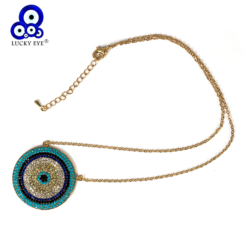 Lucky Eye Round Evil Eye Pendant Necklace Colorful Copper CZ Charms Necklace For Women Girl Link Chain Jewelry Gifts EY5229(China)