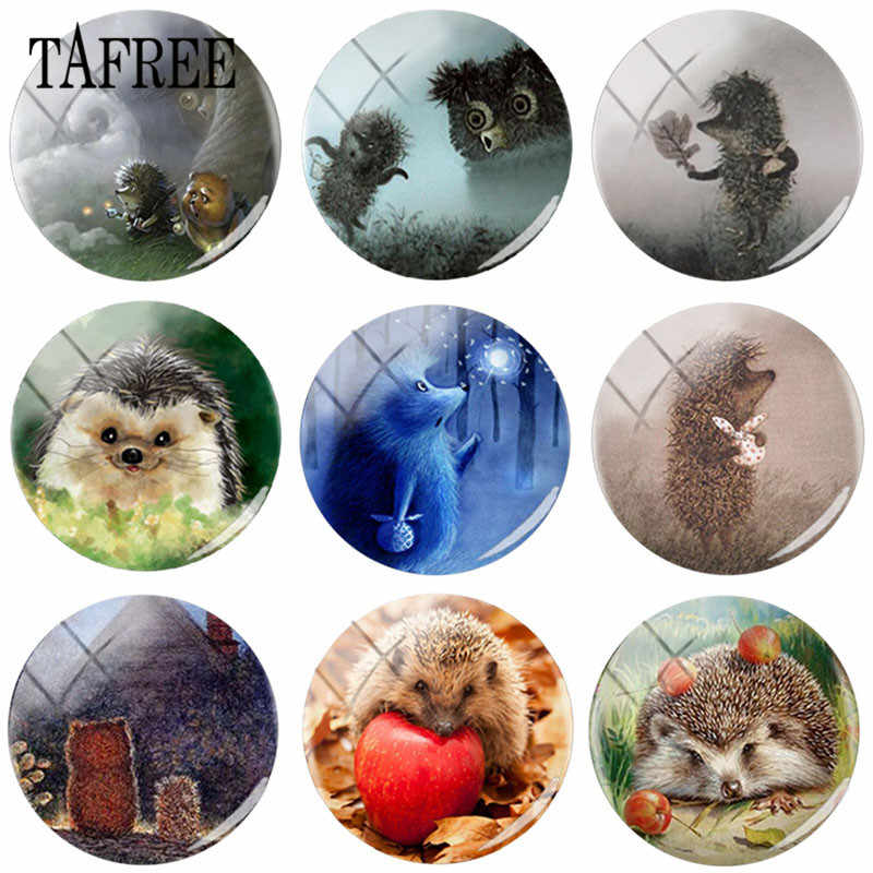 TAFREE Hedgehog In The Fog Art Picture Glass Cabochon 25 MM DIY Round Bead Jewelry For Pendant Necklace Keychain Accessories