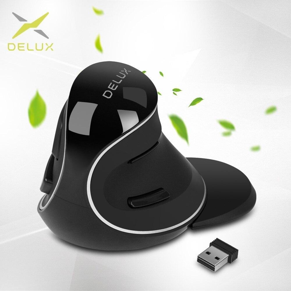 Delux M618 más ergonómico Vertical ratón inalámbrico de 800/1200/1600 DPI de 6 botones de función los ratones ópticos con extraíble resto de Palma