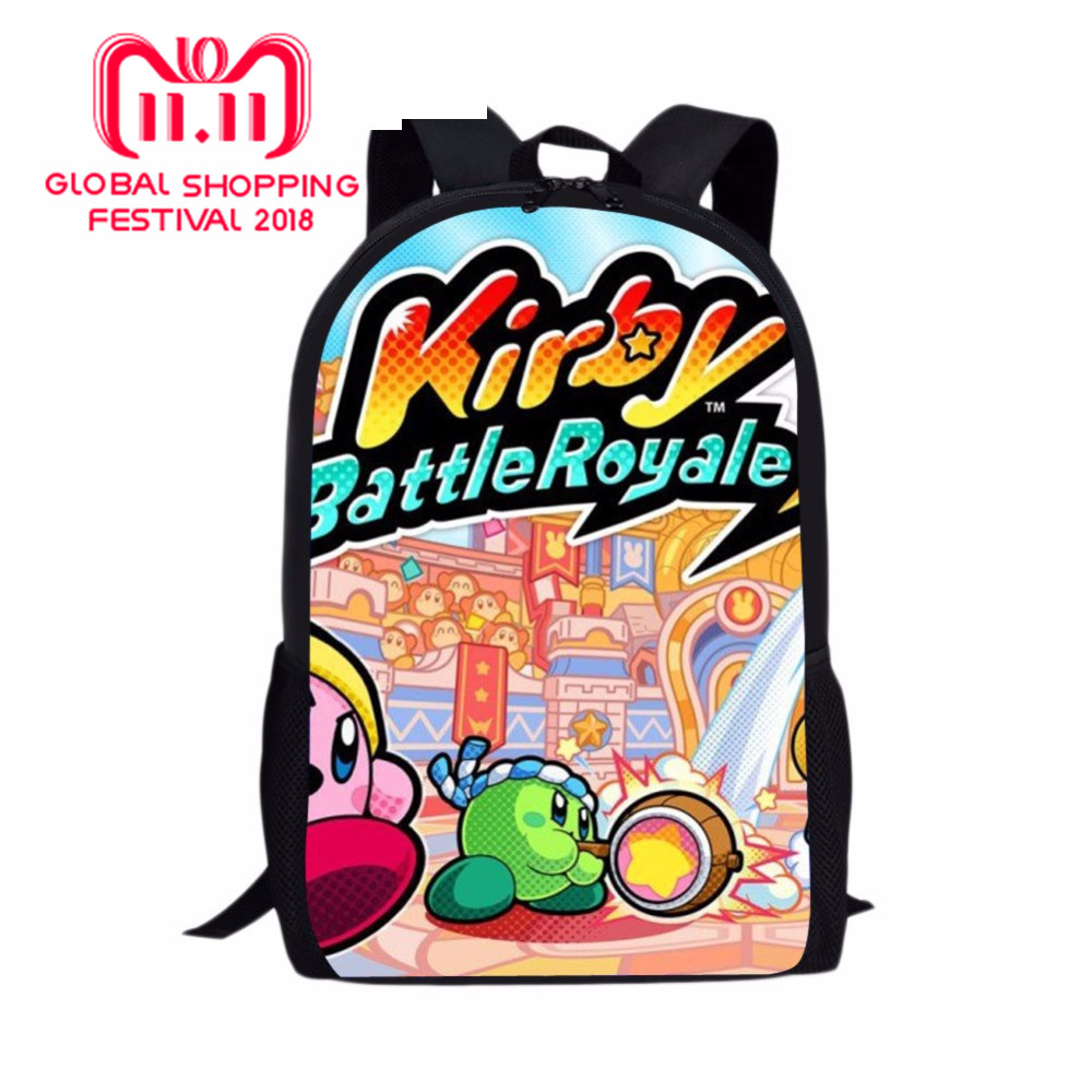 Plush Kirby Print Backpack School Bag For Kid Girl Copy Ability Poll The Loud House Children Love Good Gift Costumes