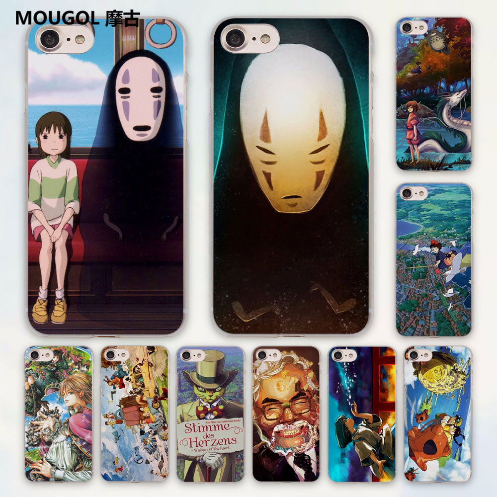 MOUGOL Studio Ghibli anime Spirited Away anime design hard clear Case Cover for Apple iPhone 7 6 6s Plus SE 4s 5 5s 5c Phone Ca