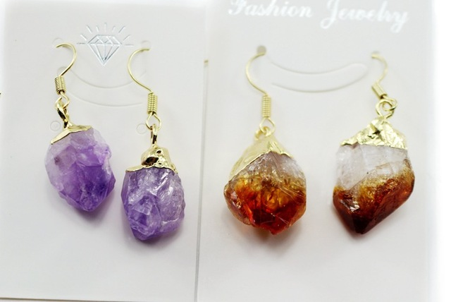 Raw Amethyst Dangle Earrings Citrine February Birthstone Purple Stone