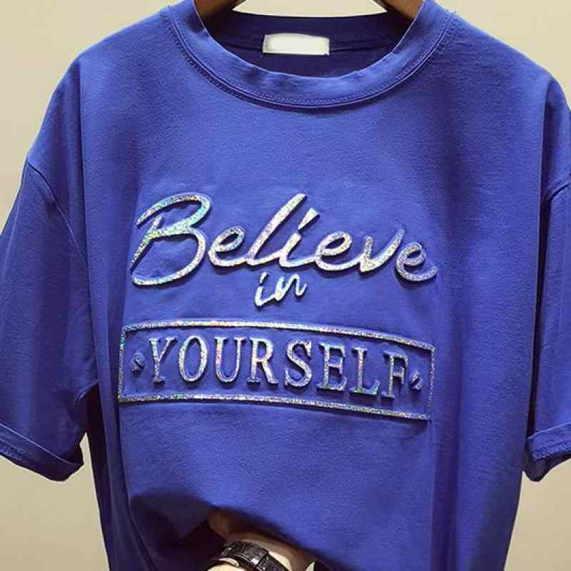 811418eaa ... Zuolunouba New Casual Tops Short Sleeve Cotton Tees Girl Letter Believe  In Your Self Print O ...