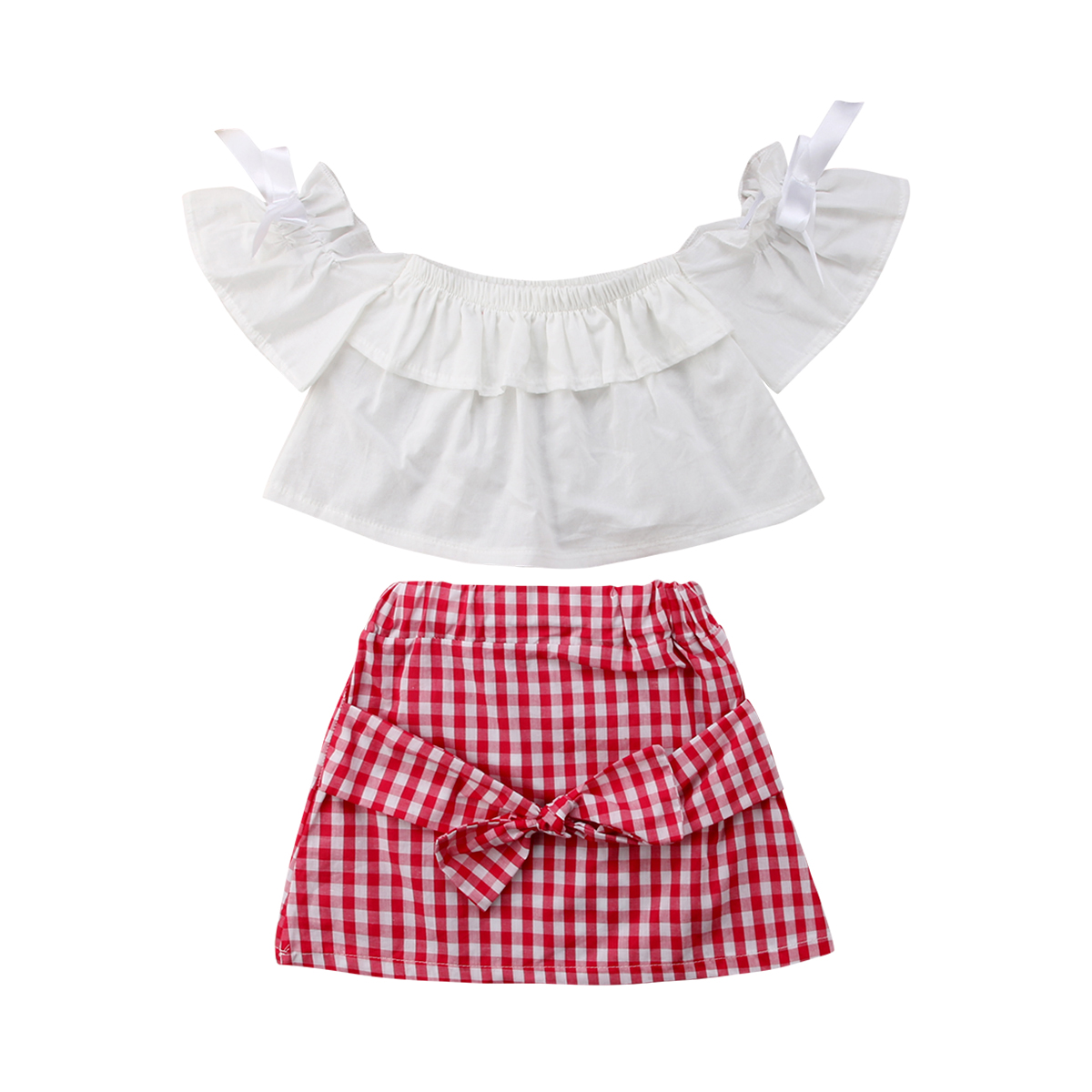 Kids Plaid Set Baby Girl Off Shoulder Dress Top Lattice Skirt Outfits Clothes 2PCS