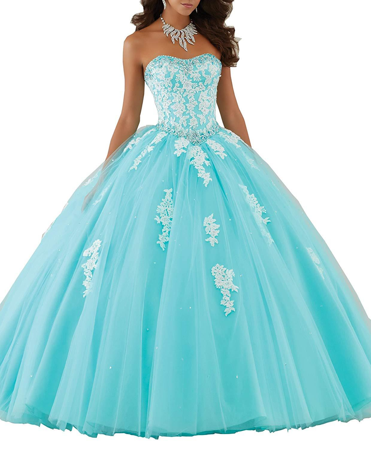 US $137.7 15% OFF|Brinkina Plus Size Girls Dresses 15 Years Ball Gown Aqua  Puffy Tulle White Lace with Crystals Quinceanera Dresses 2019-in ...