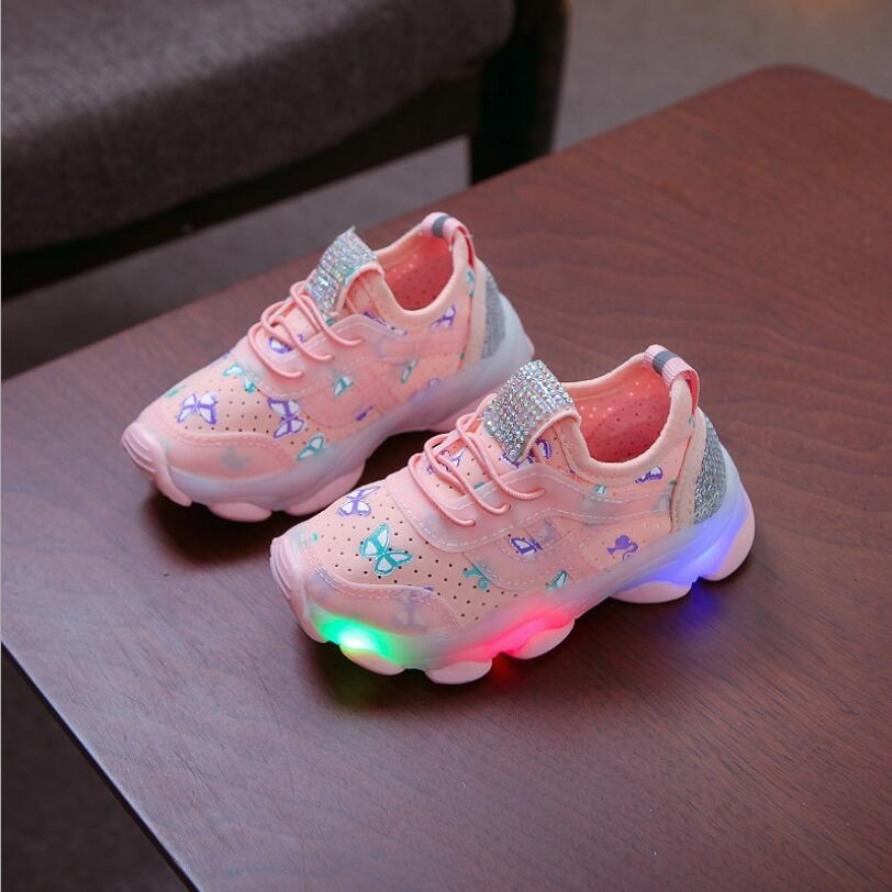 Solid Kids Footwear Cool High Quality Fashion Children Shoes LED Glowing Hook&Loop Baby Girls Boys Lovely Cute Infant Tennis