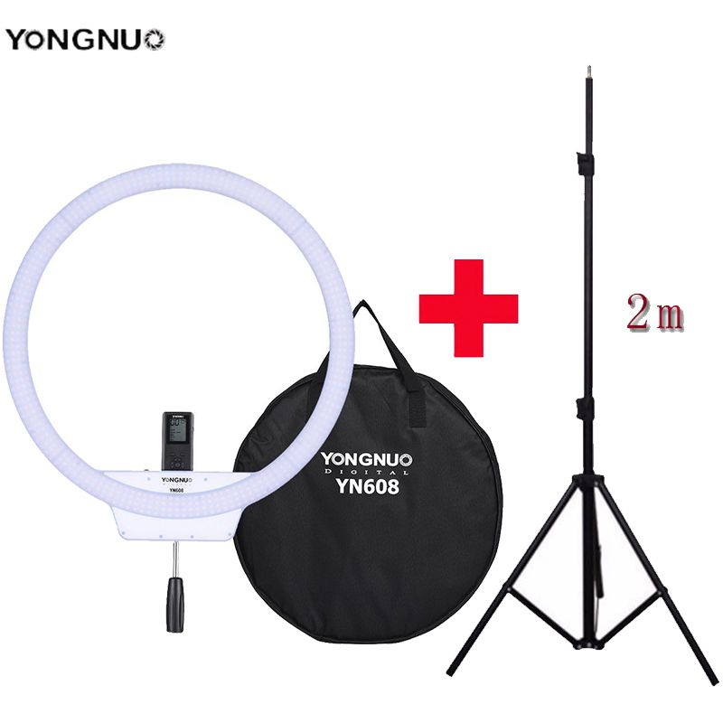 YongNuo YN608 Selfie Ring Light 3200K 5500K Bi Color Temperature Wireless Remote LED Video Light CRI