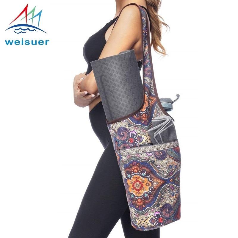 Yoga Mat Bag Carrier Durable Canvas Cotton Oblique span Yoga Backpack Carry Strap Drawstring Bags Pilates Mat Bag