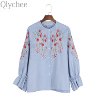 Qlychee Cute Spring Women Blouse Single Breasted Long Flare Sleeve Floral Embroidery Blouse Shirt Top