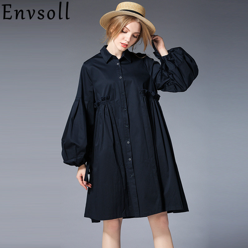 Envsoll 2018 New Spring Plus Size Maternity Dress For Pregnant Women Loose Shirt Long Sleeve Dress Pregnancy Clothes Clothing brief plus size buttoned horizontal line pineapple embellished shirt for women