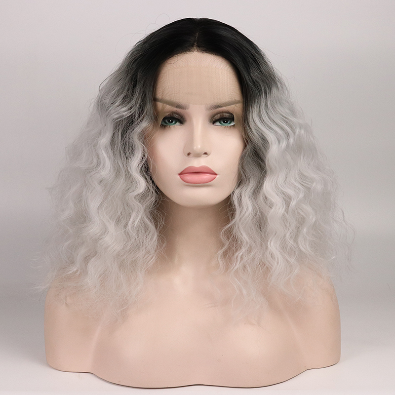Marquesha Realistic Looking Bob Cut Natural Hairline Heat Resistant Fiber Short Synthetic Lace Front Ombre Grey Wigs For Women