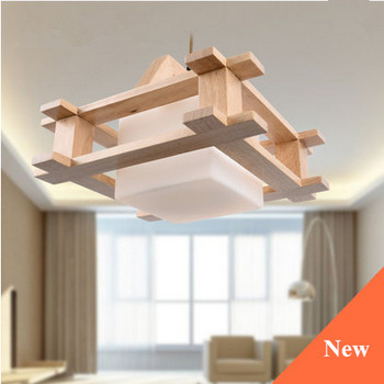 Classical Rustic Wood Art Glass Pendant Lights European Fashion Indoor E27 LED Lamp For Porch&parlor&stairs&corridor LHDD026