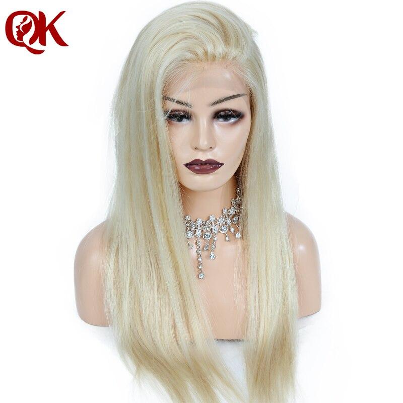QueenKing волос 180% Плотность Европейский человеческих Волосы remy спереди кружева парики блондинка 613 прямо бесплатная ночь доставка парики для Д...
