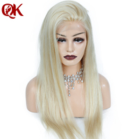 QueenKing hair 180% Density European Human Remy Hair Front Lace Wigs Blonde 613 Straight Free Overnight Shipping Wigs for Women
