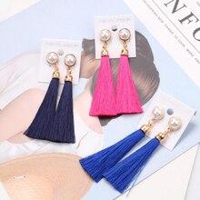Bohemian Vintage Ethnic Long Tasse Pearl Clip on Earrings Women Brand Jewelry No Hole Fabric Earings