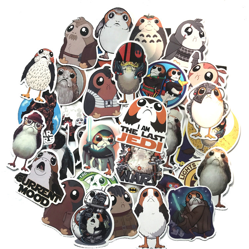 40pcs Movie Anime Porg Bird Funny Cartoon Cute Sticker Decal For Car Laptop Bicycle Motorcycle Notebook Waterproof Sticker F3