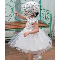 2018 שמלות טבילה עם כובע תינוק תינוק בן יומו נסיכת מסיבת יום הולדת בנות 1 שנה בגדי תחרת הטבלה חתונת כדור שמלה