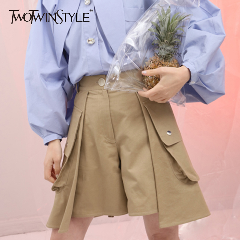 TWOTWINSTYLE Patchwork Shorts For Women High Waist Bodycon Split Big Pocket Mini Trousers Summer Autumn Fashion