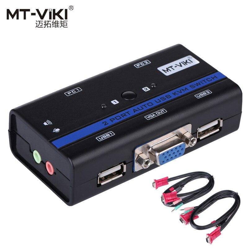 MT-VIKI 2 Port Auto VGA USB Commutateur KVM PC Sélecteur KVMA 1 Ensemble de K & M Combo Contrôles 2 hôtes avec Audio Mic Câble D'origine 261KL
