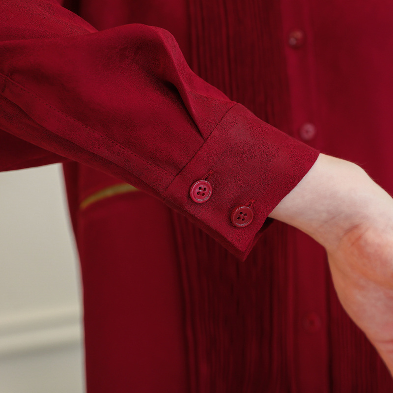 Tops Voa Manga Las Suelto Ropa Oficina Señoras Retro Vestido Camisa Otoño Lujo Casual Seda Larga De B873 Blusa Rojo Vino Mujeres Befree OZxqrpOw