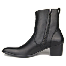 Men genuine leahter Increase High Heel Party wedding Boots handmade real picture cowboy western new wedge ankle black