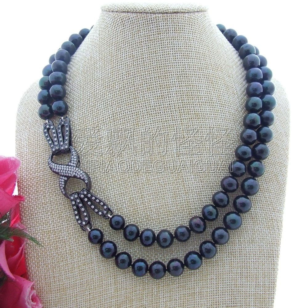 N061008 2Strands 11mm AA Black Round Pearl Necklace CZ ClaspN061008 2Strands 11mm AA Black Round Pearl Necklace CZ Clasp