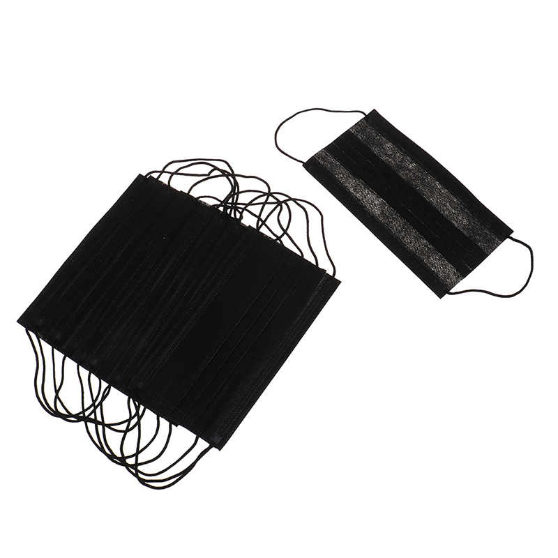 10Pcs Black Non-woven Mask Mouth-muffle Flu Face Medical Mask Black Disposable Mouth Mask Anti-dust Windproof Masks
