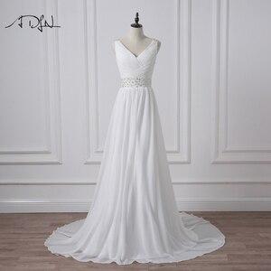Image 1 - ADLN 2020 Strand Hochzeit Kleider V ausschnitt Böhmischen Chiffon Perlen Braut Kleid Nach Maß Brautkleider Vestidos de Novia