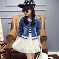 2016 fashion Spring new products denim jacket dress Two-piece suit Girl Set Cotton products
