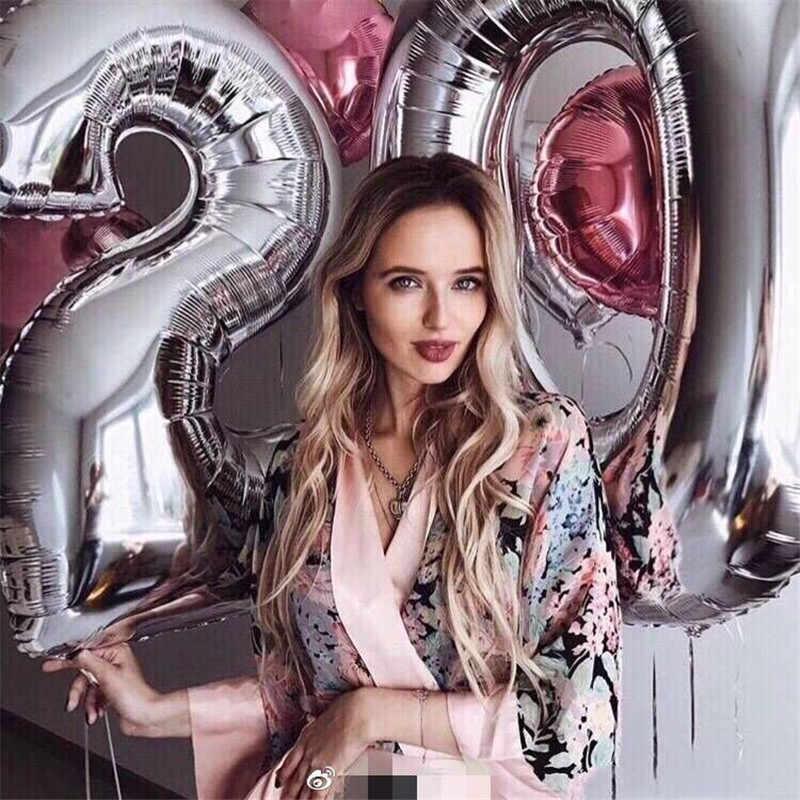 40 Polegada Ouro Prata rose glod 0-9 Número Balões Folha De Alumínio balão de Hélio Festa de Aniversário Do Casamento Decoração Adulto garoto sup