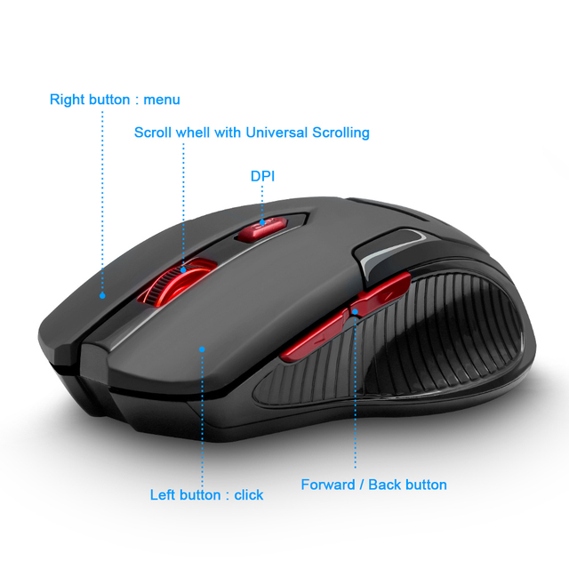 Rocketek USB Wireless Gaming Mouse 1600 DPI 6 buttons 1