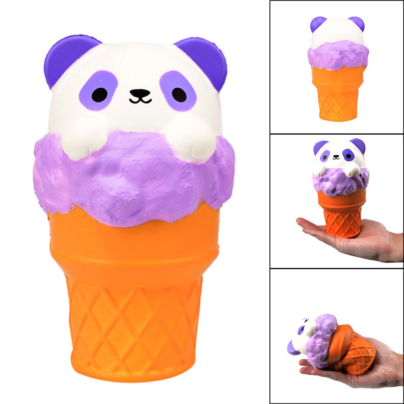 Panda Squish Ice Cream Scented Slow Rising Squishies Toy Furry Stress Relief  For Kids Kawaii Stationery Wipes Anti-stress D4