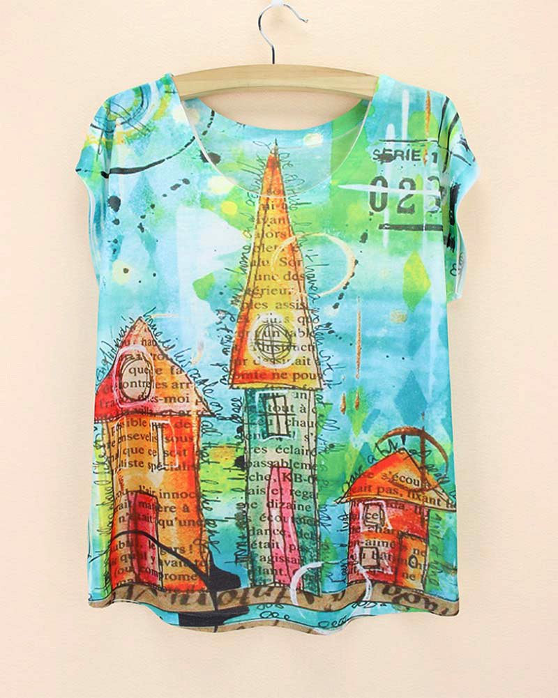 Design t shirt sell - Best Sell New 2015 Summer Tee Women Fantasy Castle Print Tshirt Girls Novelty Design T Shirt Western Ladies Casual Tops Tees