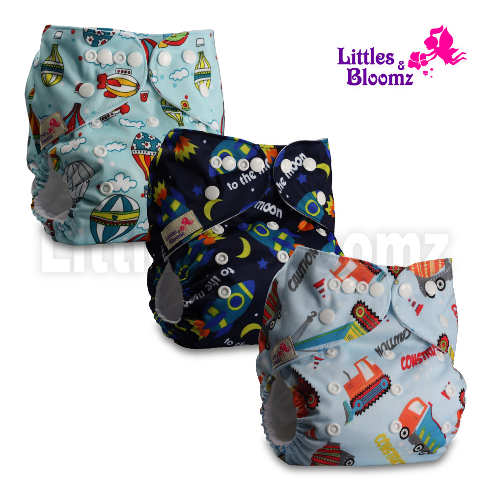 Reusable Pocket Real Cloth Nappy Washable Diaper Bamboo Charcoal with 2 Bamboo Inserts Pattern 29 Littles /& Bloomz