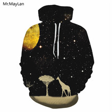 Night Galaxy Space Tree Giraffe 3D Print Hoodies Men/Women Hiphop Streetwear Pullover Hood Sweatshirts Boy Black Jacket Clothing