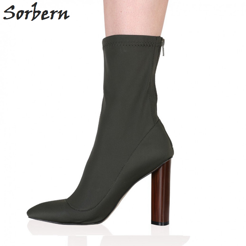 Sorbern Women Boots Plus Size Ankle Boots For Women High Heels 2017 New Arrive Hot Sale Zipper Pointed Toe Botas Mujer Sexy