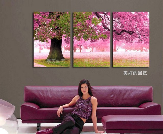 3 Piece Hot Sell Modern Canvas Painting Cherry Blossom Poster Home Decor  Wall Pictures For Living