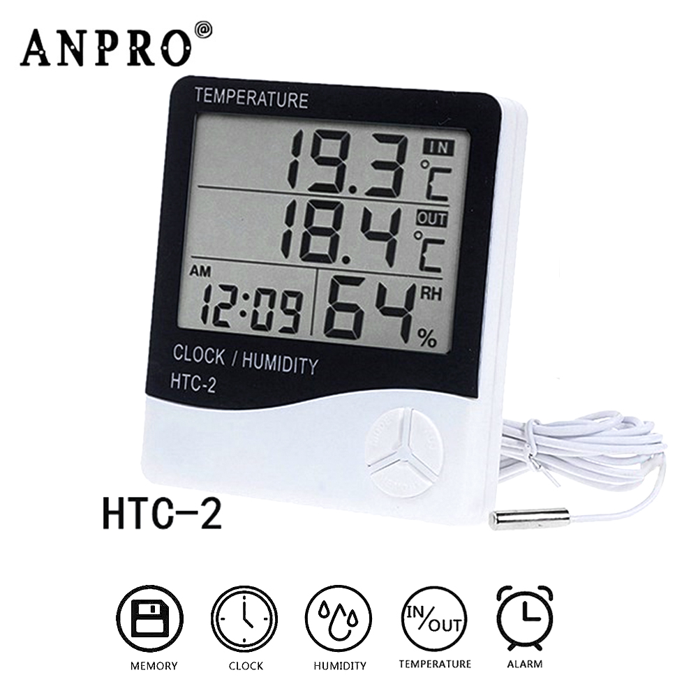"""Digital Reptile Pet Hygrometer Thermometer 1 3//4/"""" Inch Round Black Face 001-C"""