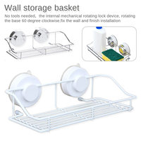 Storage drawer Stainless steel sink suction cup organizer shelf wall suction vacuum suction cup sponge storage basket soap towel