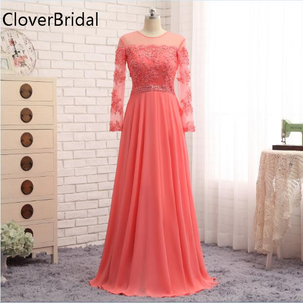 Long Sleeve Evening Dress Floor Length Chiffon Pearls Formal Coral Women Party Gown Elegant Vestidos De Festa Vestido De Noche